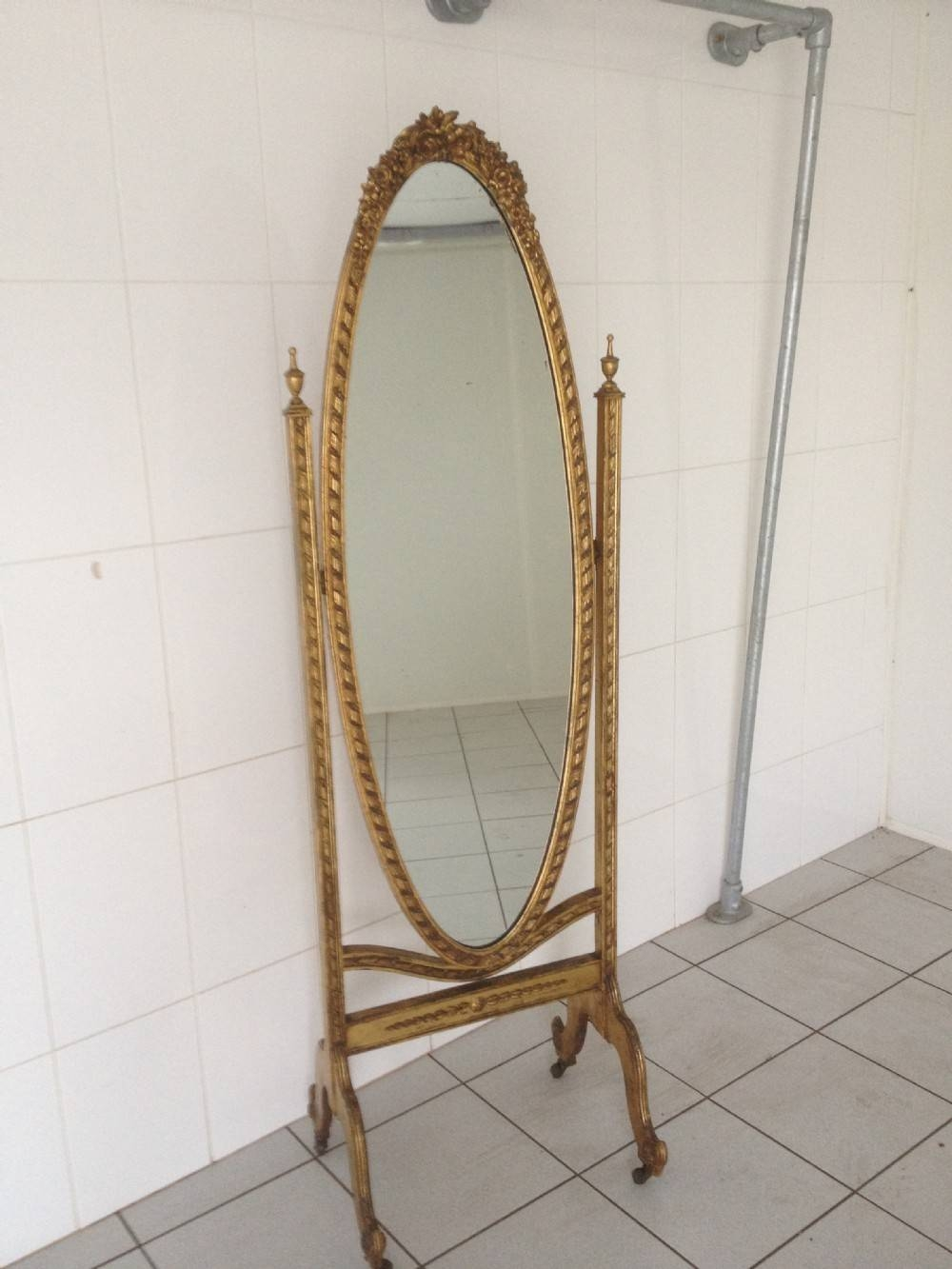 Large English Gilt Cheval Mirror | 246410 | Sellingantiques.co.uk throughout Cheval Mirrors (Image 21 of 25)