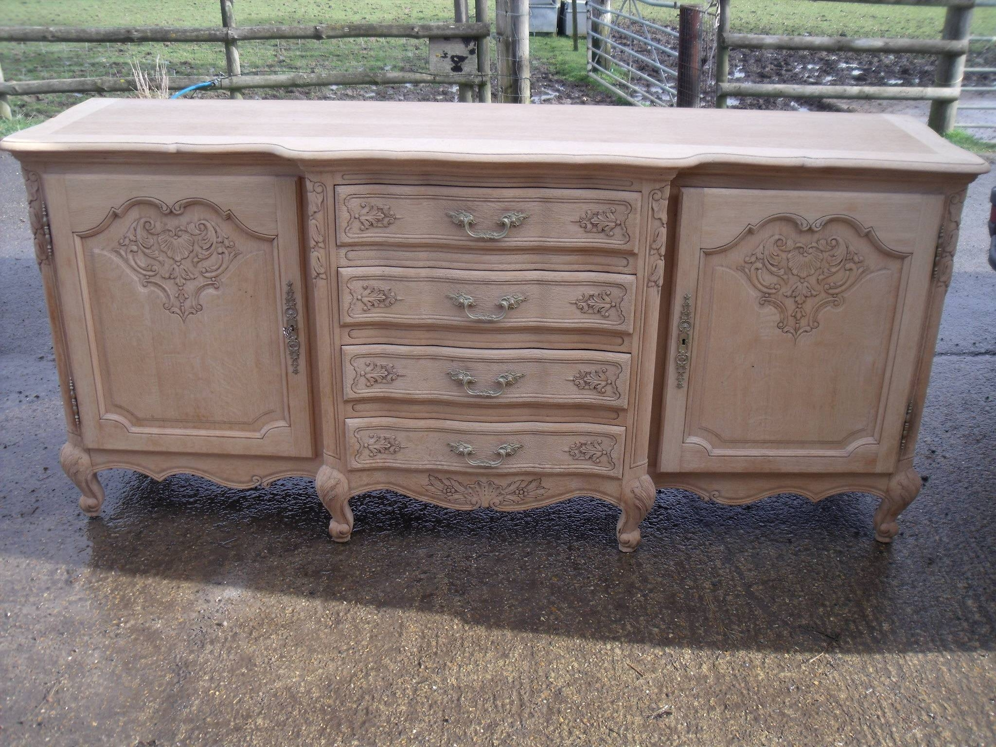 Large French Louis Xv Style Natural Oak Carved Sideboard | Antique throughout French Style Sideboards (Image 20 of 30)