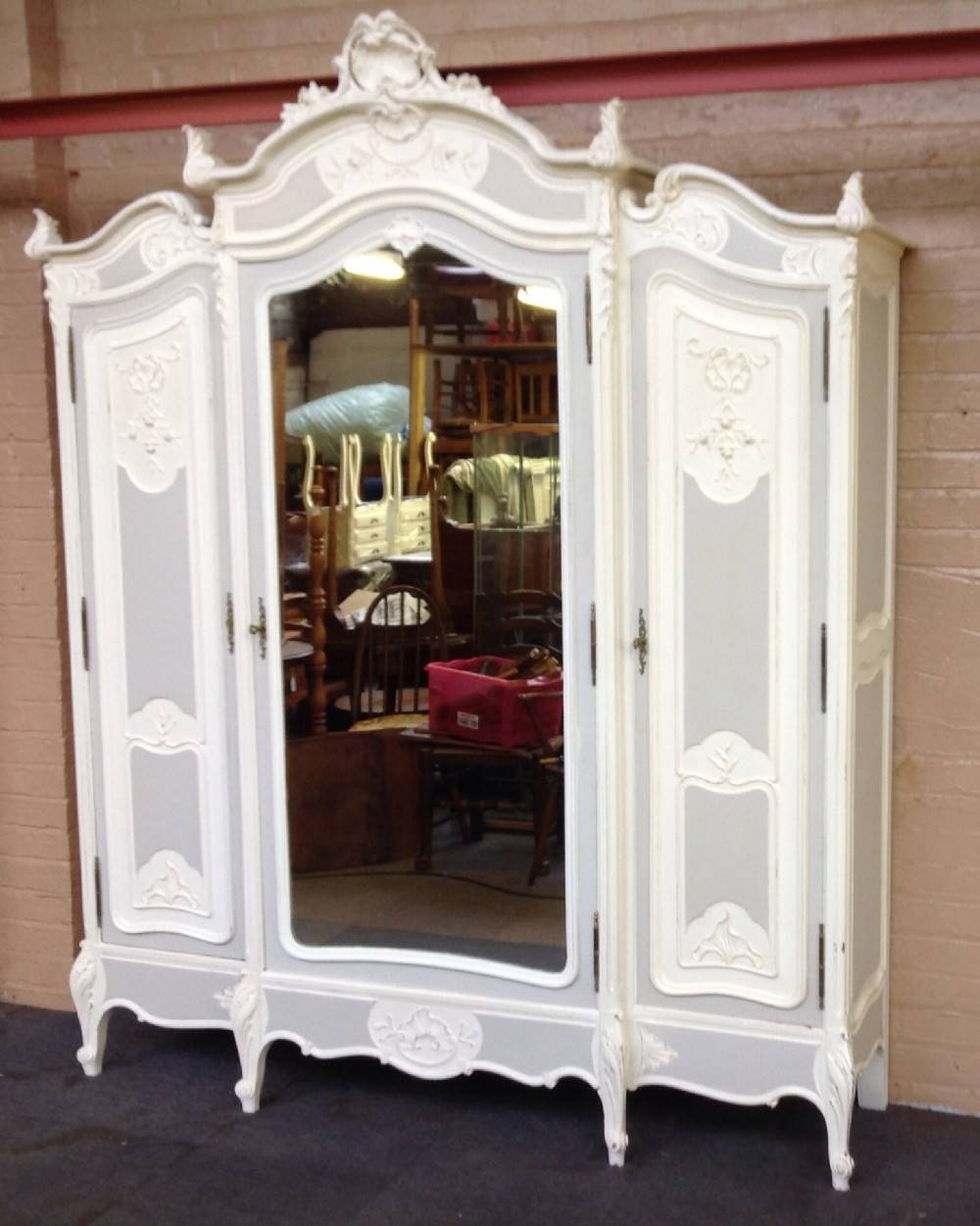 Large French Painted Armoire. | 258658 | Sellingantiques.co.uk pertaining to Vintage French Wardrobes (Image 9 of 15)