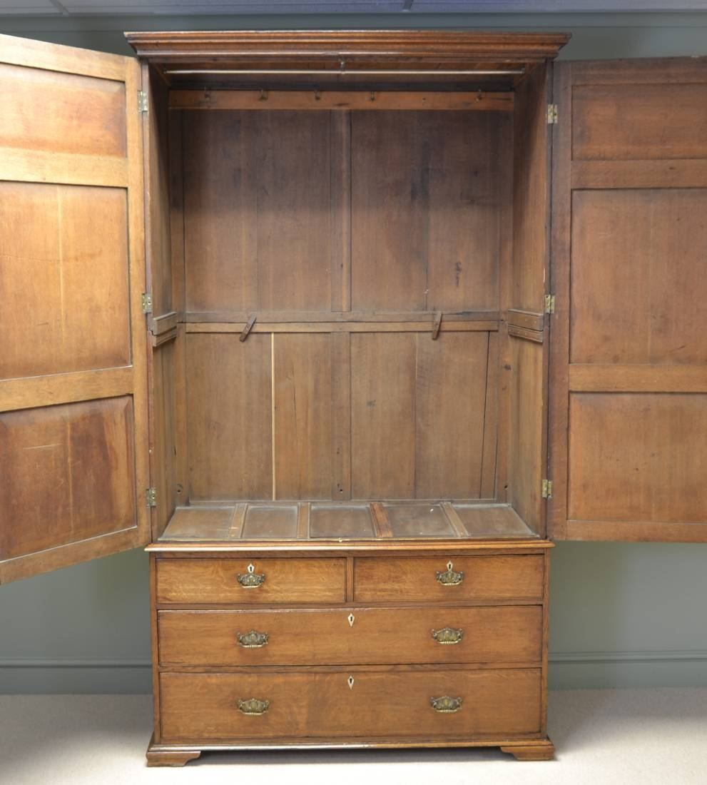 Large Georgian Golden Oak Antique Linen Press / Cupboard within Large Oak Wardrobes (Image 4 of 15)