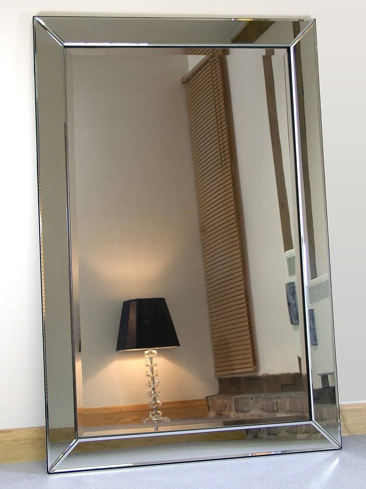 Large Glass Bevelled Wall Mirror 127 Nice Decorating With Zoom inside Bevelled Mirrors Glass (Image 15 of 25)