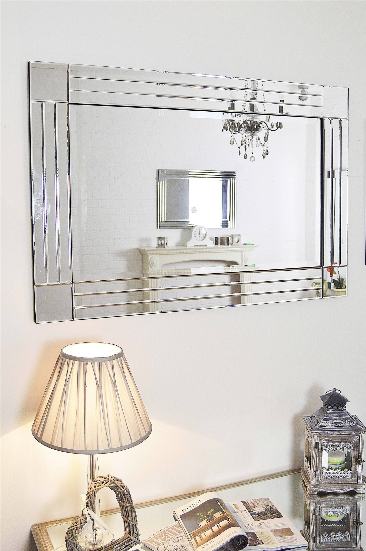 Popular Photo of Large Glass Bevelled Wall Mirrors