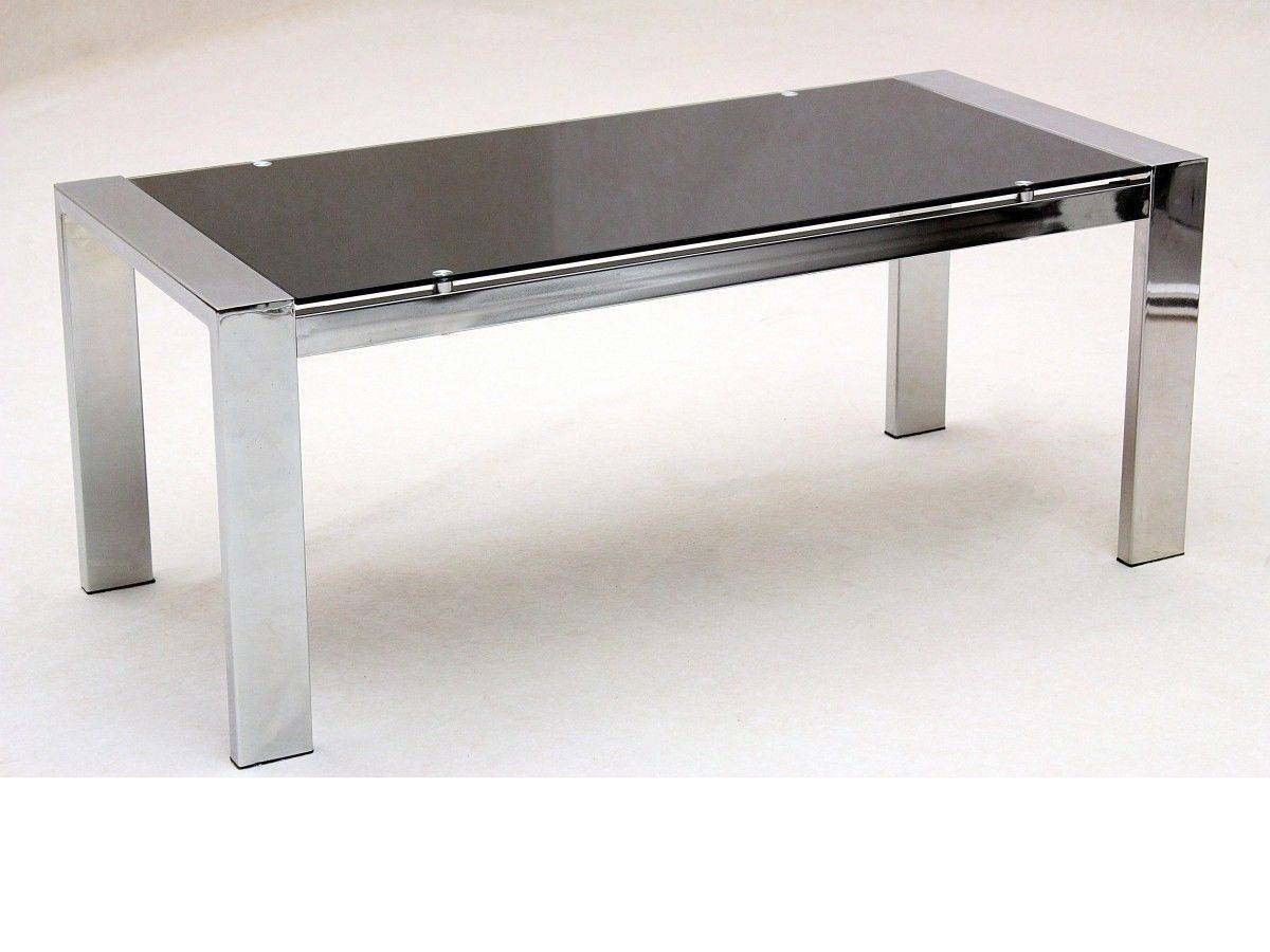 Large Glass Coffee Table Rectangle Chrome Legs Homegenies within Rectangle Glass Chrome Coffee Tables (Image 27 of 30)