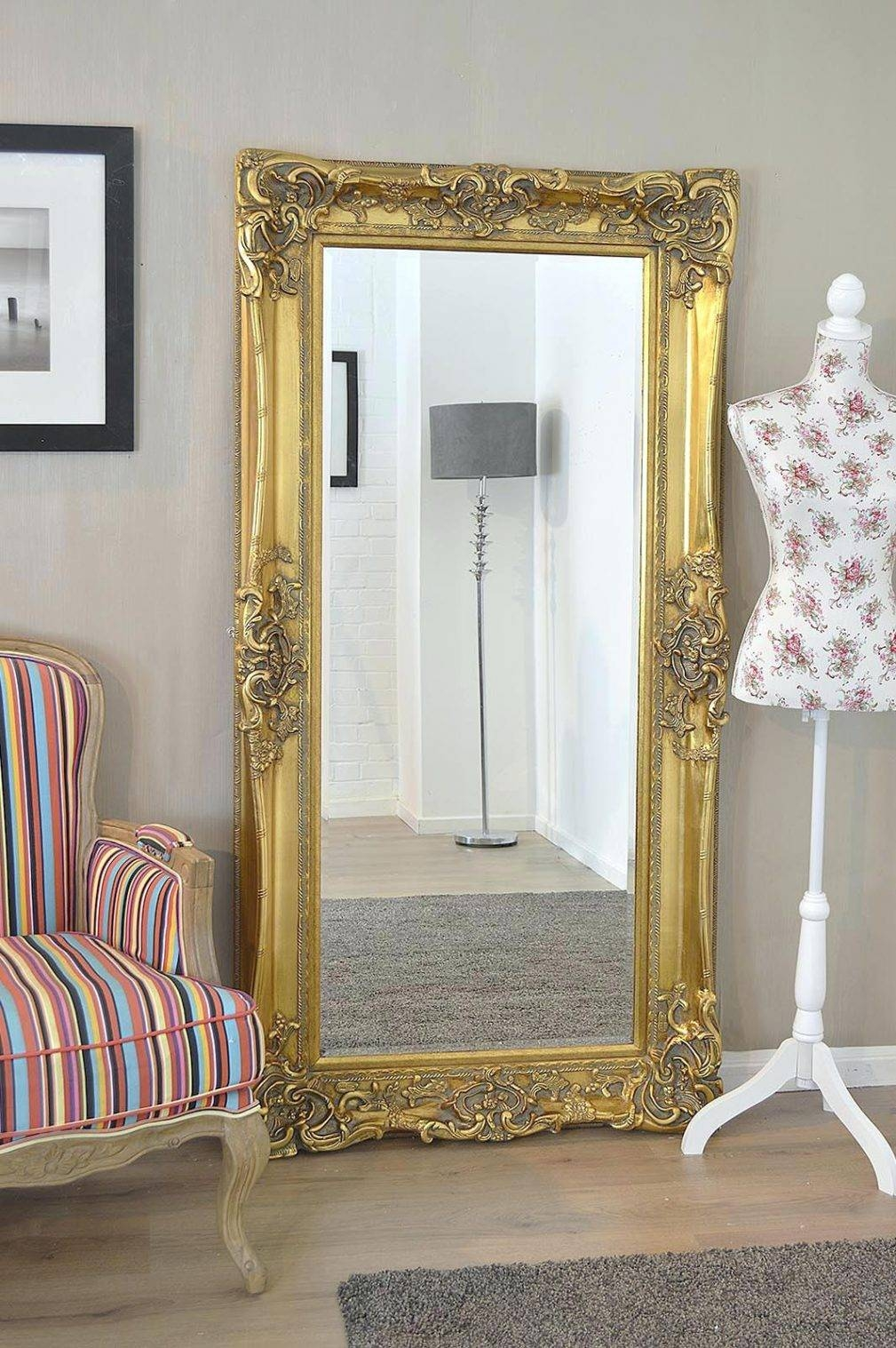 Large Gold Wall Mirror – Amlvideo with Mirrors Shabby Chic (Image 9 of 25)