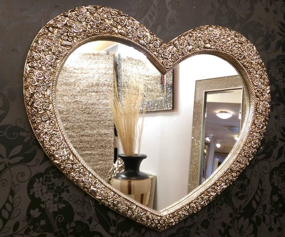 Large Heart Wall Mirror Ornate Champagne Silver French Engrved within Champagne Wall Mirrors (Image 16 of 25)