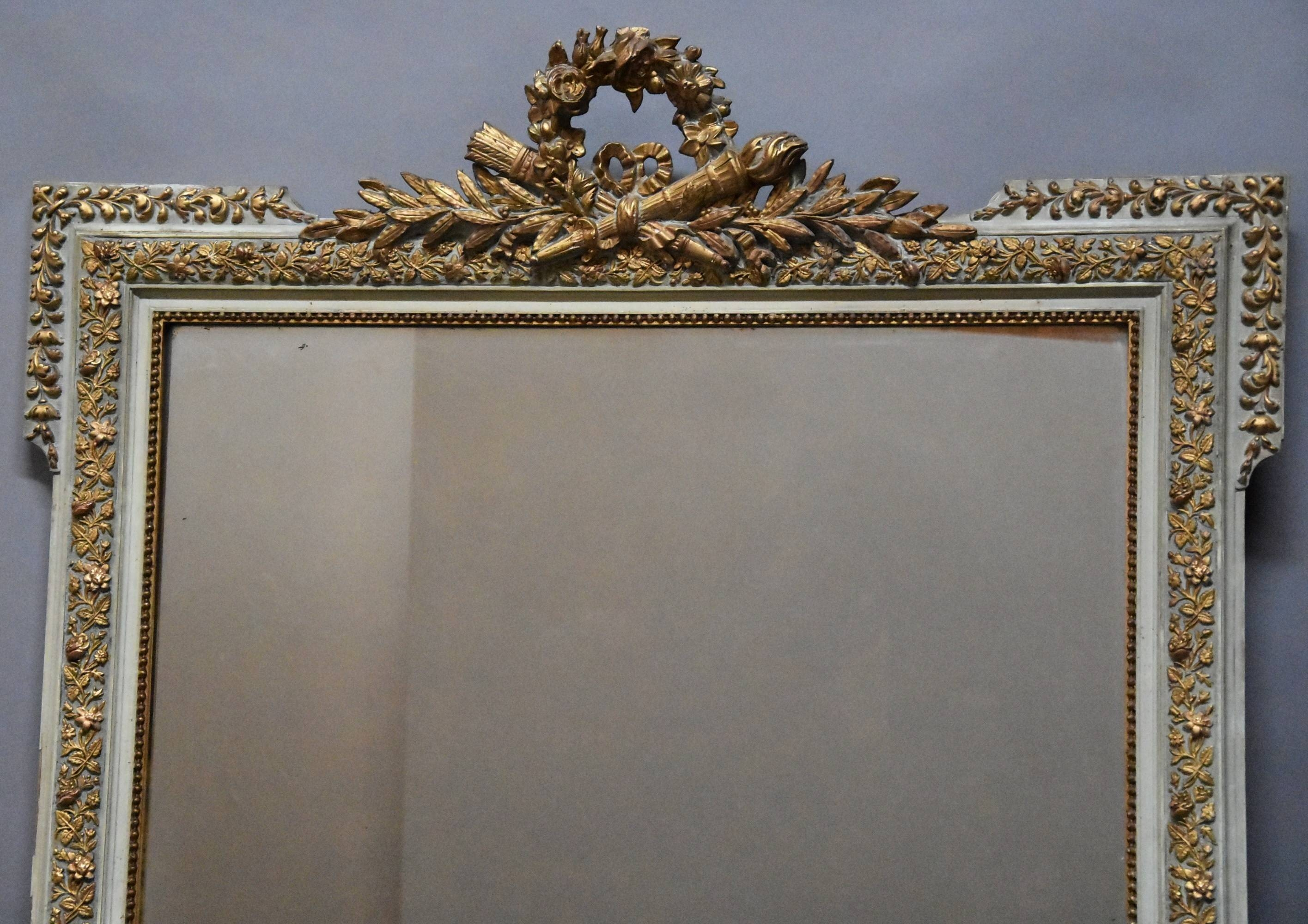 Large Late 19Thc French Gilt And Painted Mirror In The Louis Xvi inside Large French Style Mirrors (Image 19 of 25)