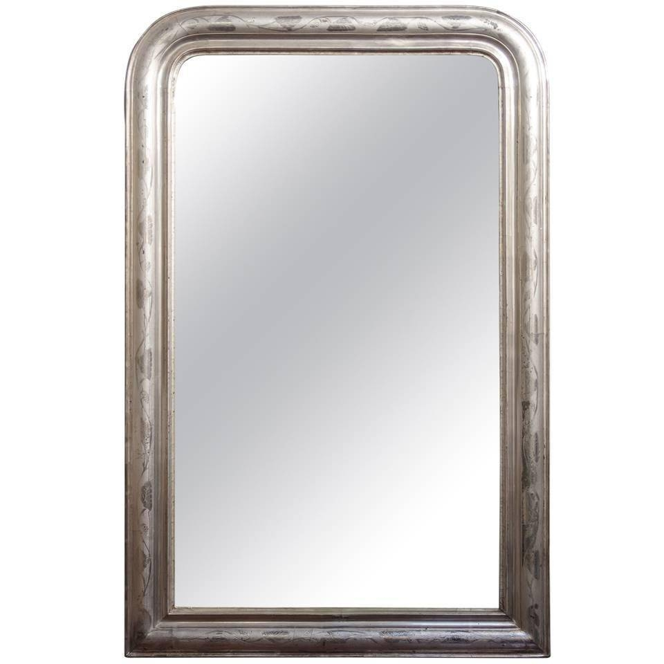 Large Louis Philippe Silver Gilt Mirror (H 48 X W 31 1/2) For Sale regarding Silver Gilt Mirrors (Image 17 of 25)