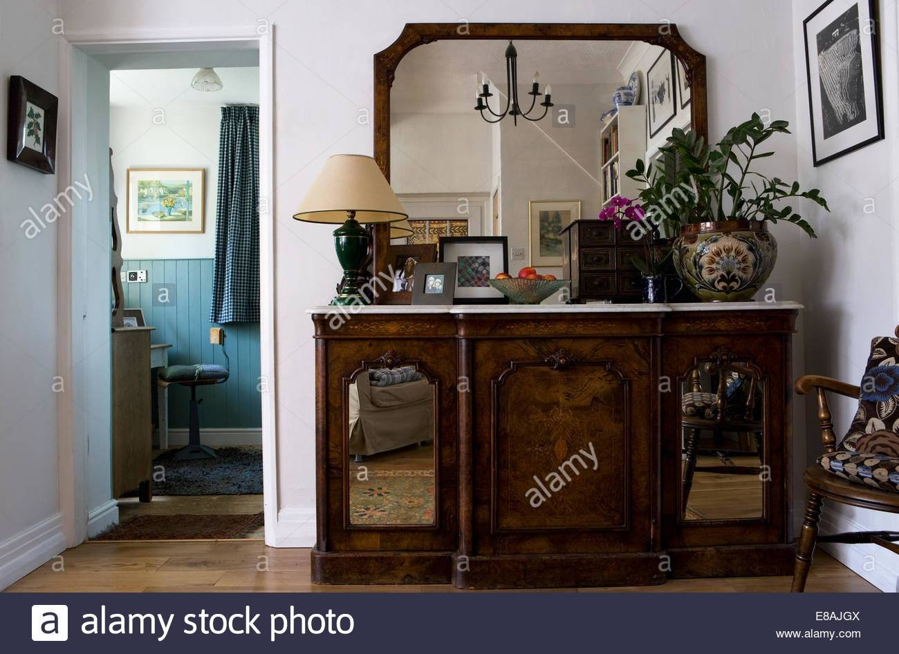 Large Mirror Above Marble Topped Antique Sideboard With Mirrored Regarding Small Mirrored Sideboards (View 12 of 30)