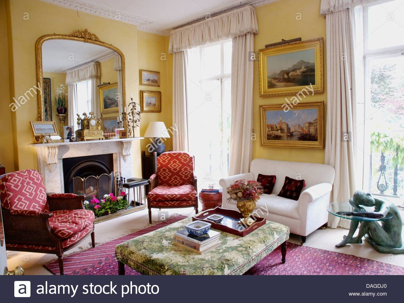 Large Mirror Above Sofa In Townhouse Living Room With Wooden with Large Landscape Mirrors (Image 16 of 25)