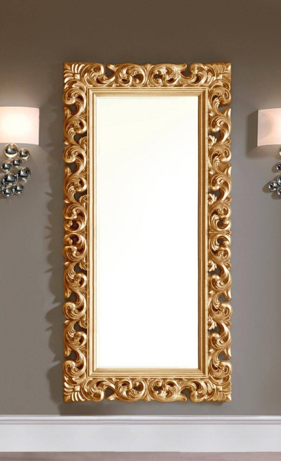 Large Modern Ornate Mirror In Gold Colour Finish with regard to Ornate Large Mirrors (Image 13 of 25)