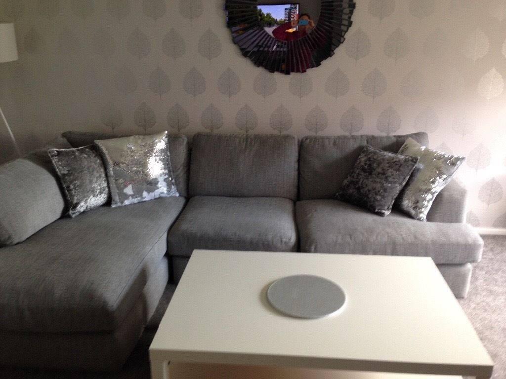 Large Next Grey Corner Sofa With Matching Swivel Chair | In East with Corner Sofa and Swivel Chairs (Image 20 of 30)