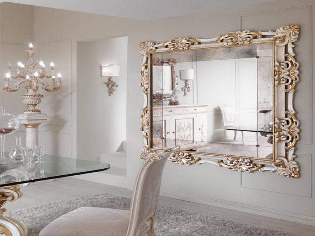 Large Ornate Decorative Wall Mirror Office And Bedroomoffice Inside White Mirrors