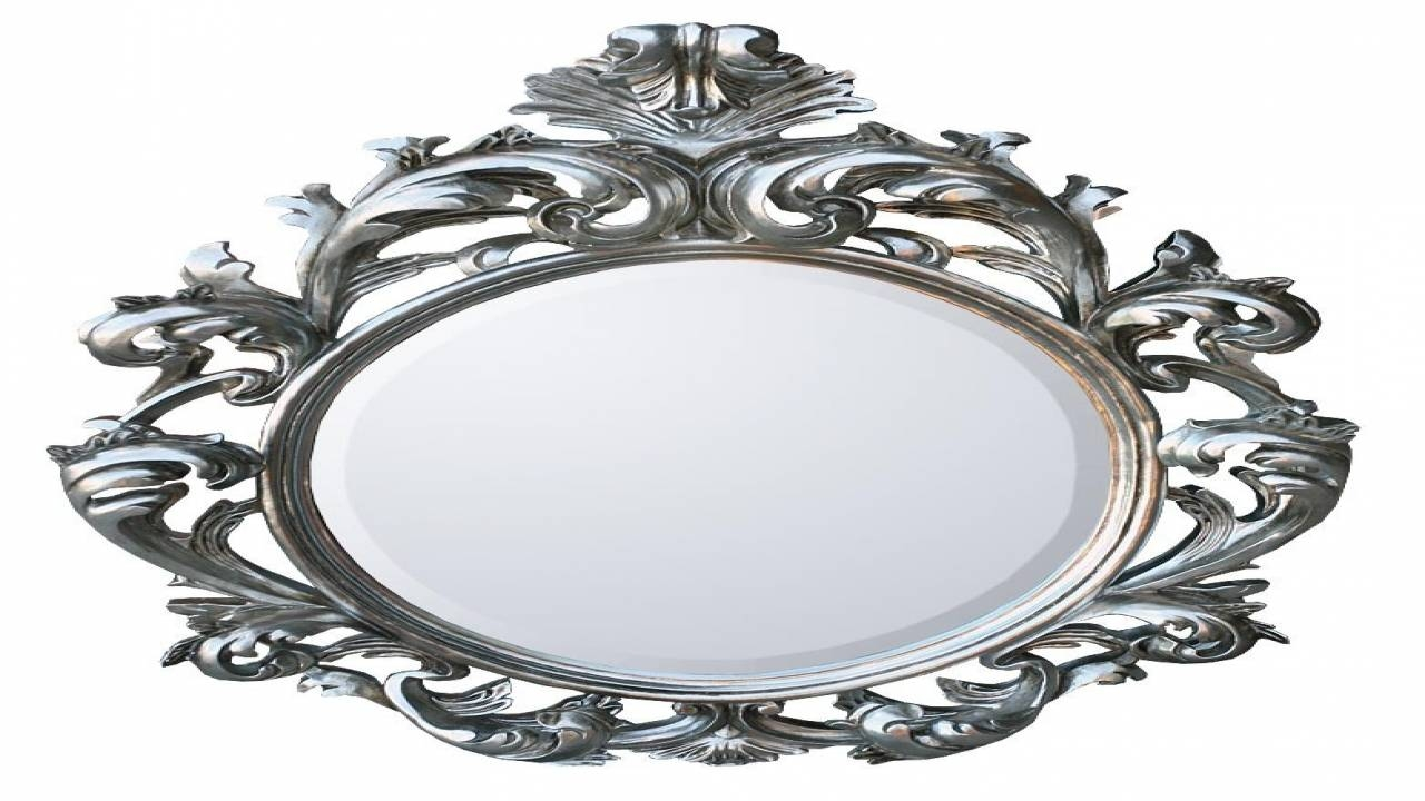 Large Oval Baroque Mirror Wall Acedf - Surripui inside Baroque White Mirrors (Image 15 of 25)