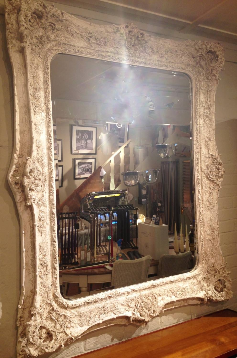 Large Painted Ornate Mirror In Vintage & Vintage Style in Ornate Large Mirrors (Image 15 of 25)