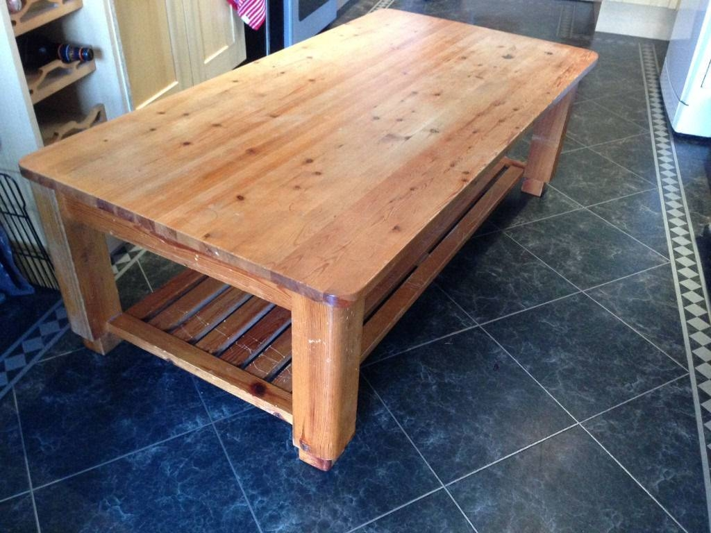 Large Pine Coffee Table With Slatted Shelf Underneath | In Croydon for Coffee Tables With Shelf Underneath (Image 23 of 30)