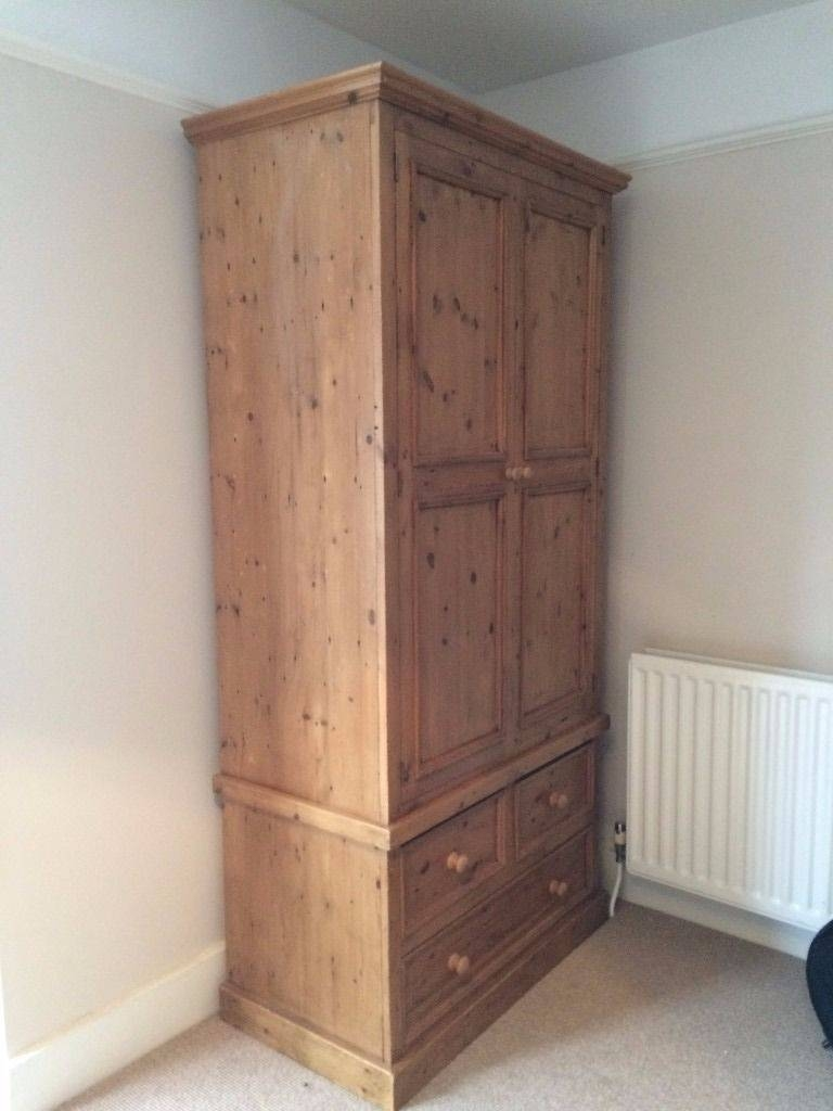 Large Pine Wardrobe - 3 Drawers, Hanging Rail & Shelf Inside in Pine Wardrobe With Drawers And Shelves (Image 18 of 30)