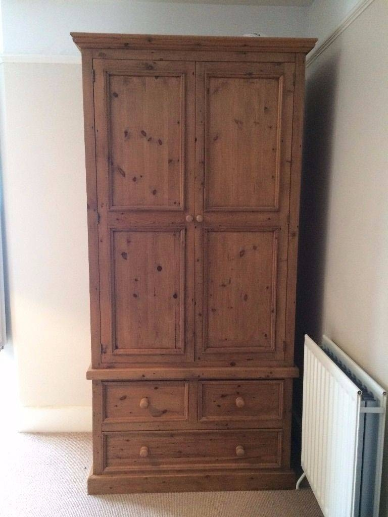 Large Pine Wardrobe - 3 Drawers, Hanging Rail & Shelf Inside intended for Pine Wardrobe With Drawers And Shelves (Image 19 of 30)