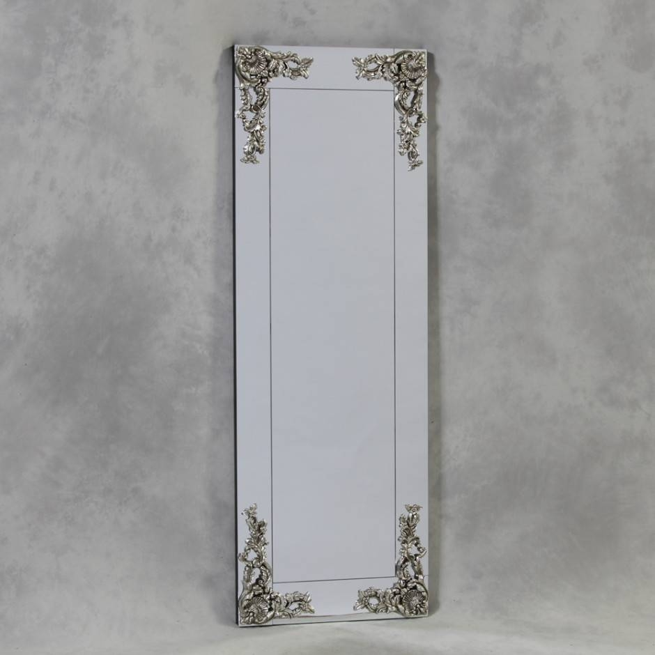 Large Rectangular Frameless Mirror With Metallic Corner Detail throughout Large No Frame Mirrors (Image 14 of 25)