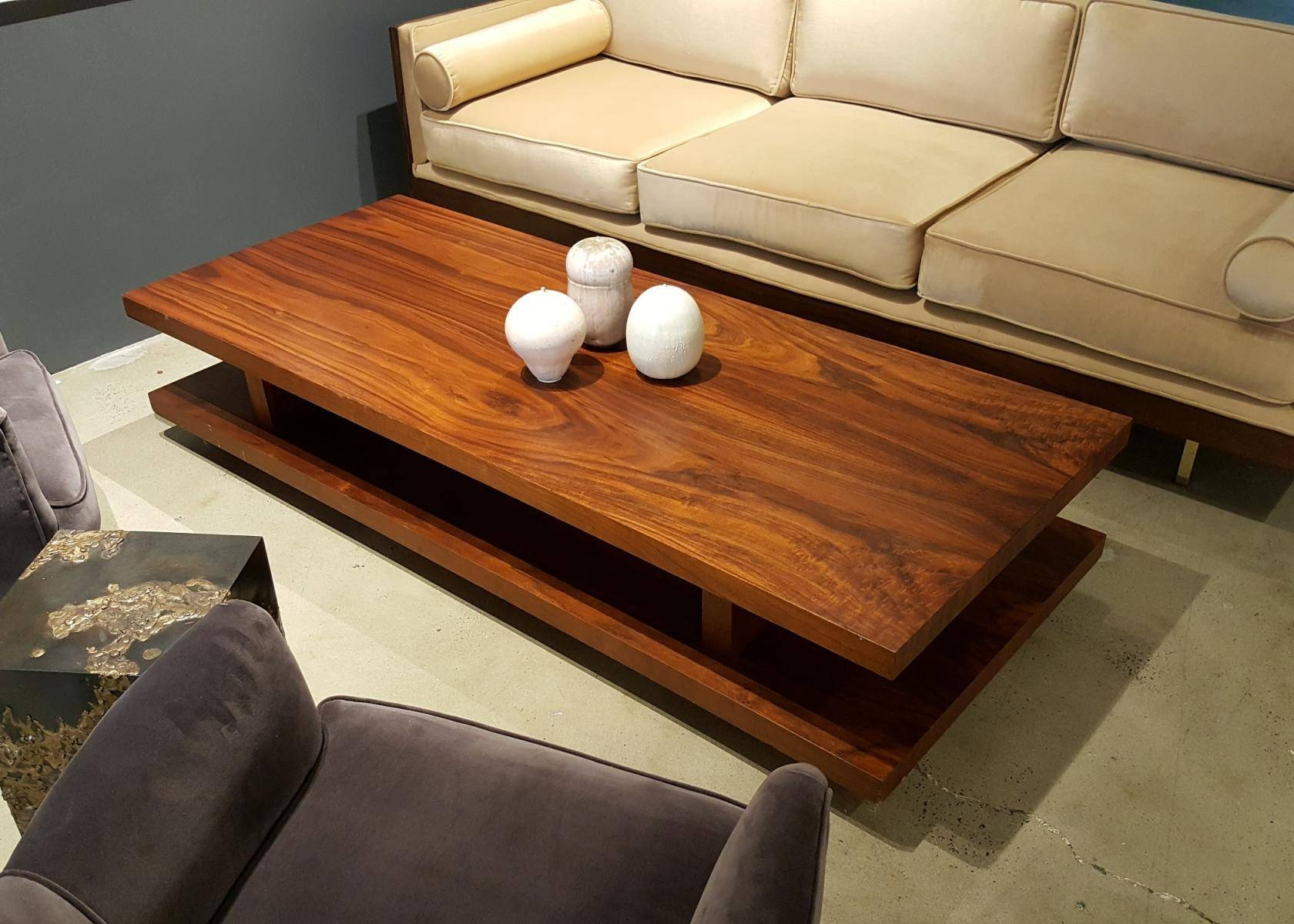 Large Rectangular Walnut Coffee Table, 1970s For Sale At Pamono Pertaining To Large Rectangular Coffee Tables (View 6 of 30)