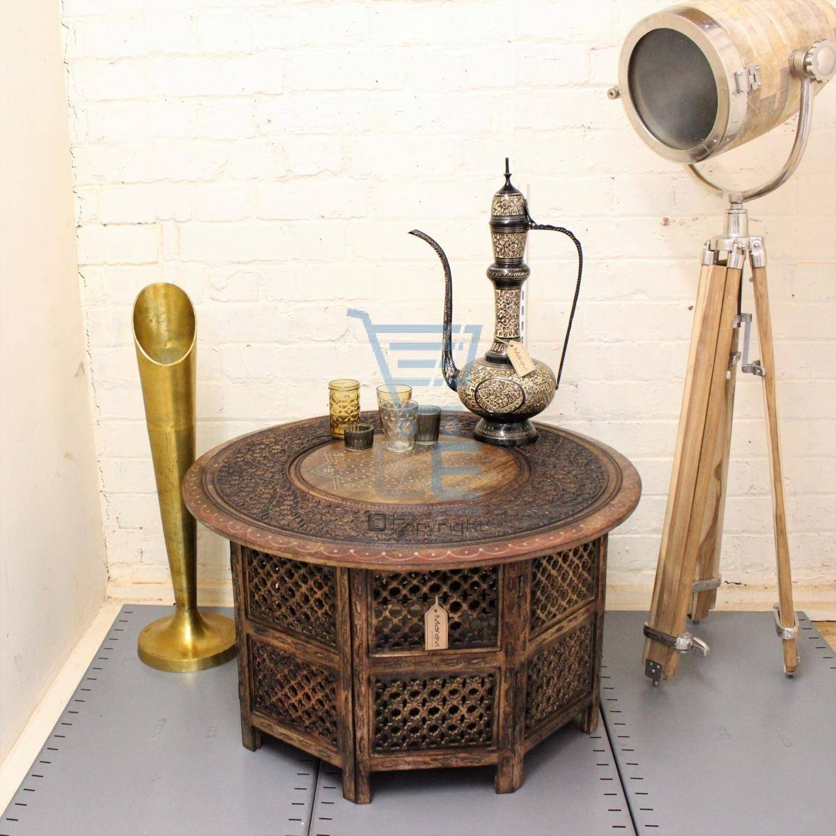 Large Round Coffee Table Brown Solid Wooden Hand Carved Indian intended for Indian Coffee Tables (Image 28 of 30)