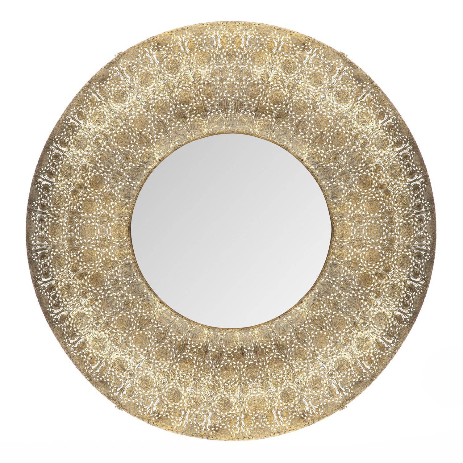 Large Round Gold Moroccan Arabian Arabesque Rare • Samisonline pertaining to Gold Round Mirrors (Image 14 of 25)