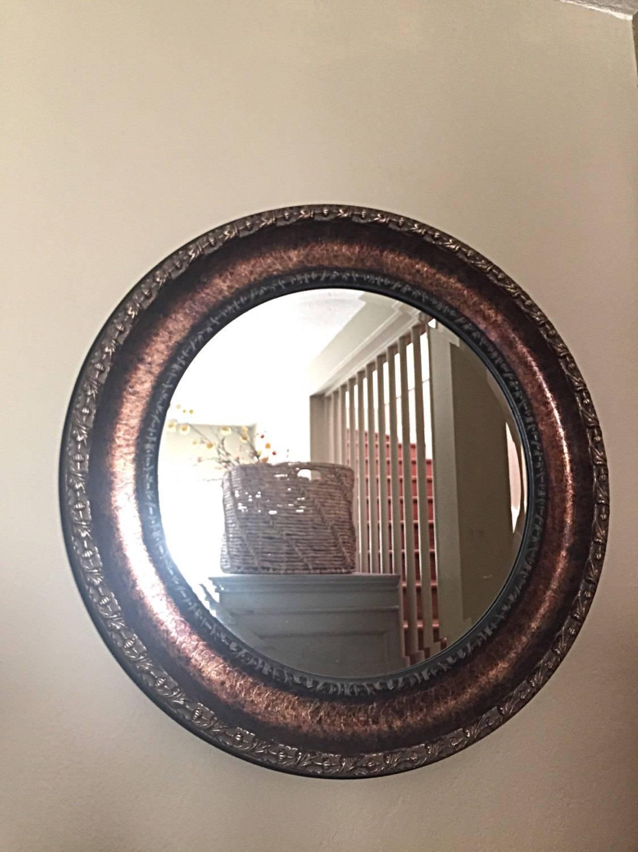 Large Round Mirror Bathroom Mirror Round Bronze Mirror in Ornate Round Mirrors (Image 14 of 25)