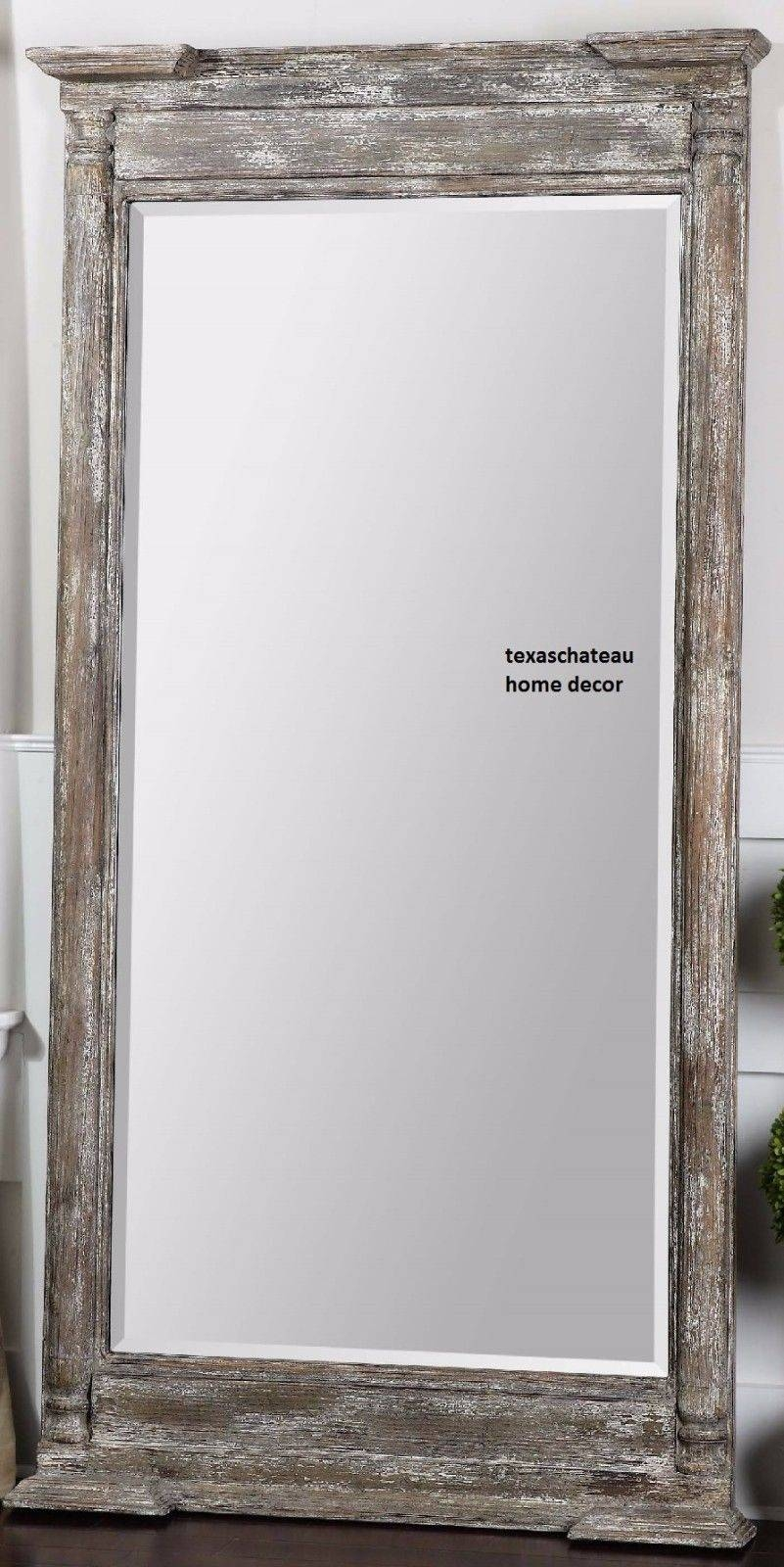Large Salvage Wood Wall Mirror Full Length Dressing Floor Leaner throughout Large Wall Mirrors (Image 14 of 25)