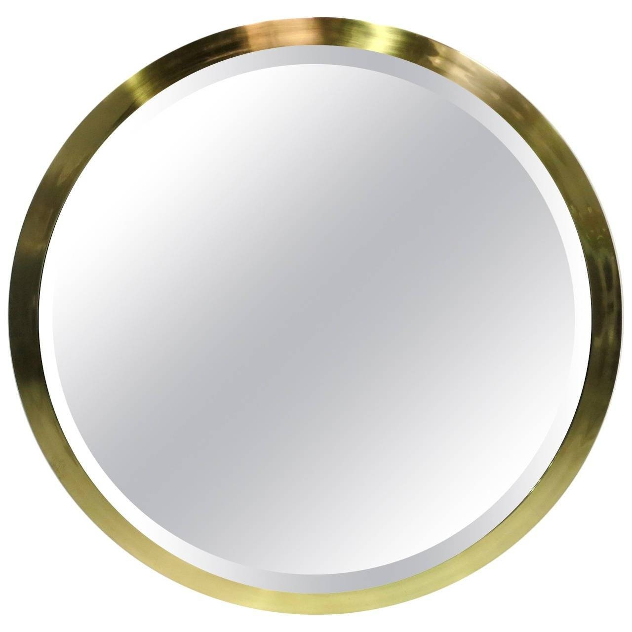 Large-Scale Round Beveled Mirror With Brass Frame At 1Stdibs throughout Round Bevelled Mirrors (Image 10 of 25)