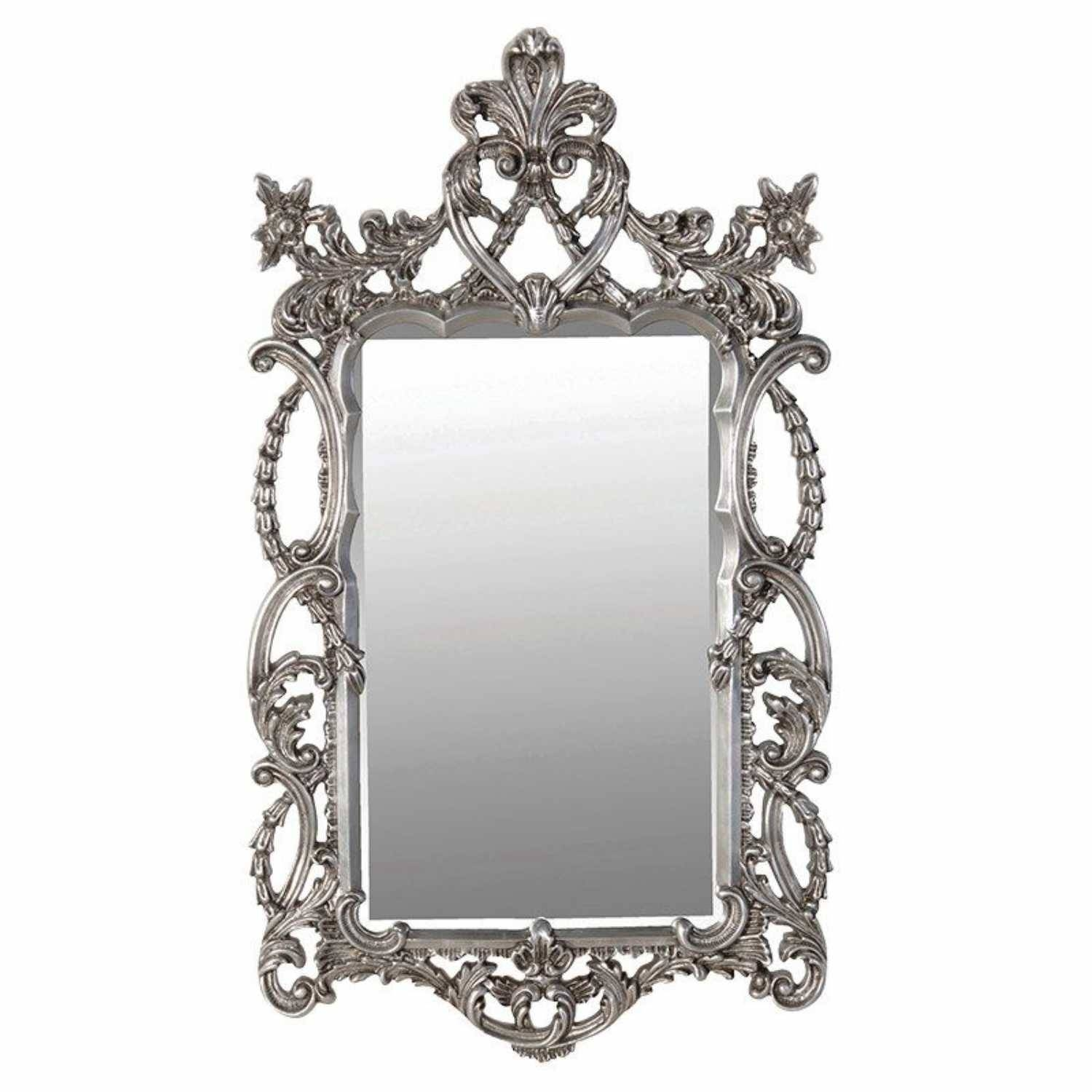 Large Shabby Chic Ornate Silver Effect Painted Baroque Wall Mirror with Silver Ornate Framed Mirrors (Image 8 of 25)