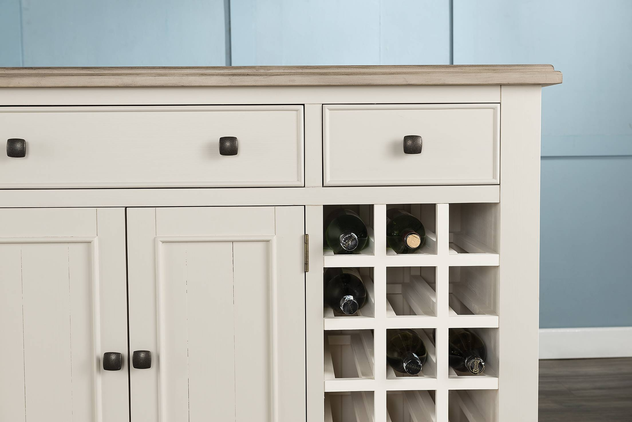 Large Sideboard With Wine Rack & Baskets (54-15) - Papaya Trading within White Sideboards With Wine Rack (Image 9 of 30)