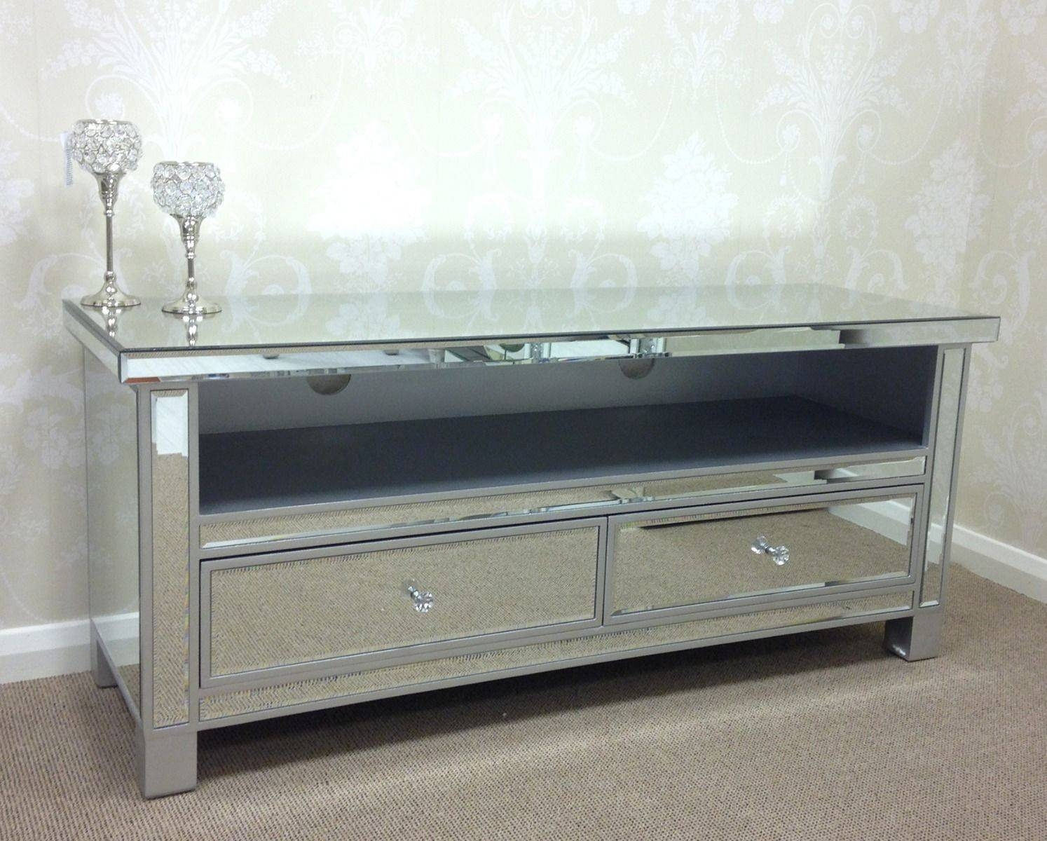 Large Silver Venetian Mirrored Glass 2 Drawer Widescreen Tv Unit intended for Venetian Mirrored Sideboards (Image 8 of 30)