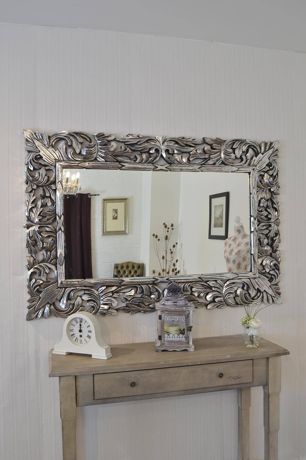The best silver ornate wall mirrors large silver wall mirror 57 nice decorating with large ornate wall in silver ornate wall mirrors amipublicfo Choice Image