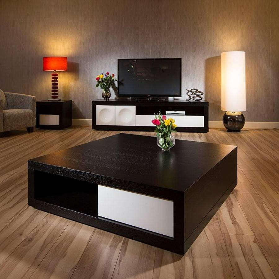 Large Square Coffee Table Black | Coffee Tables Decoration regarding Dark Wood Square Coffee Tables (Image 23 of 30)