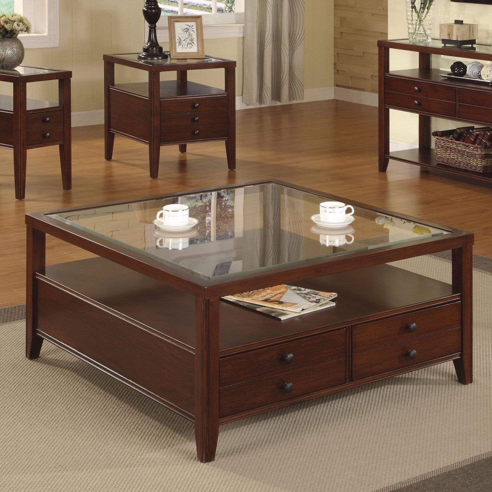 Large Square Coffee Table Wood Material Brown Finish 4 Legs Rustic for Square Coffee Tables With Drawers (Image 21 of 30)