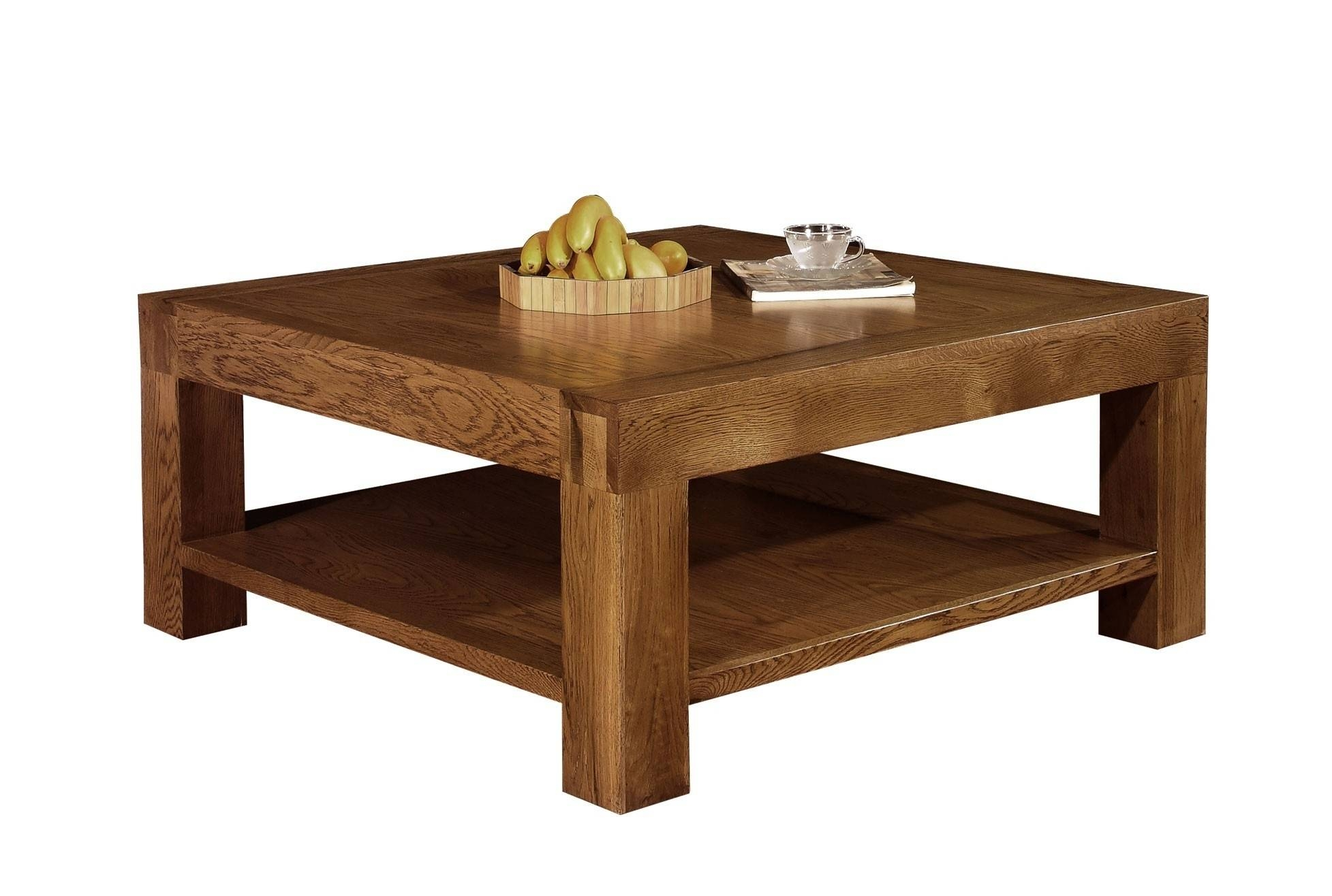 Large Square Coffee Table Wood Material Brown Finish 4 Legs Rustic intended for Rustic Style Coffee Tables (Image 24 of 30)