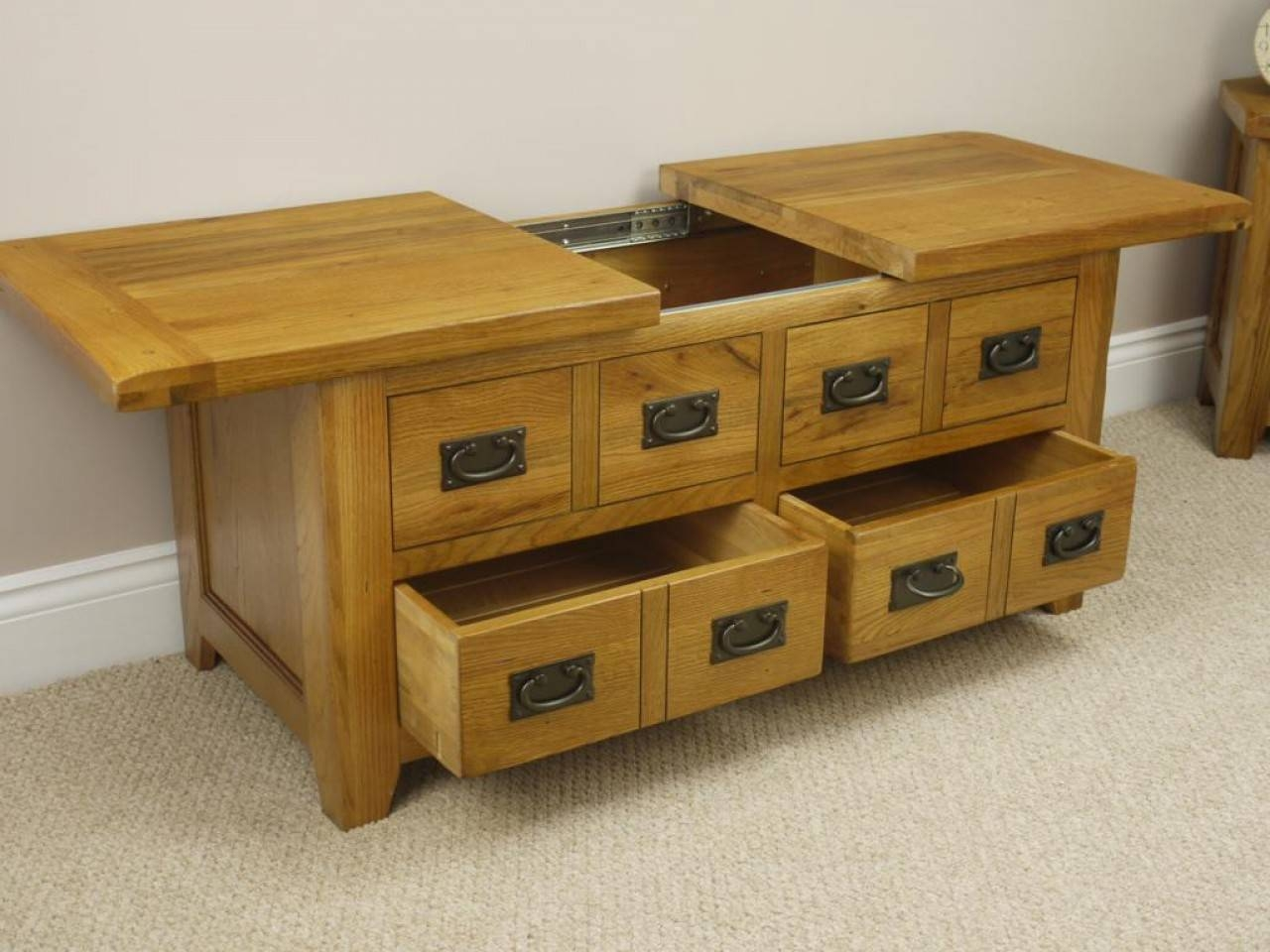 Large Square Oak Coffee Table With Storage | Coffee Tables Decoration Intended For Square Storage Coffee Tables (View 21 of 30)