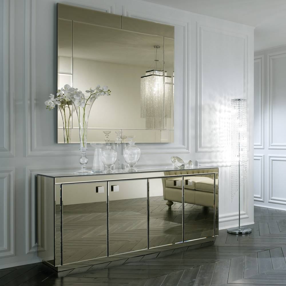 Large Square Smoked Glass Venetian Mirror | Juliettes Interiors within Square Venetian Mirrors (Image 18 of 25)