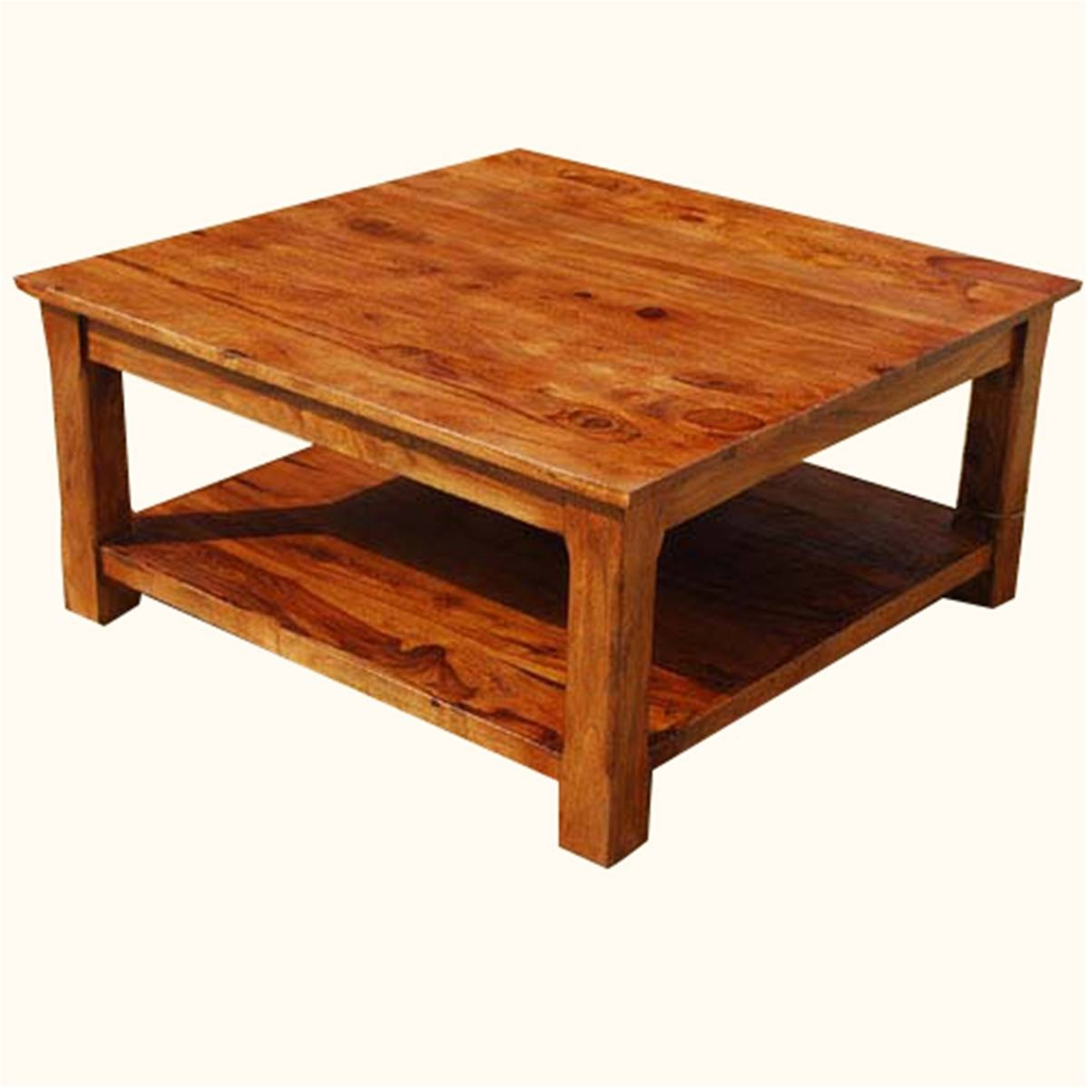 Large Square Solid Wood Coffee Table | Coffee Tables Decoration in Big Square Coffee Tables (Image 27 of 30)