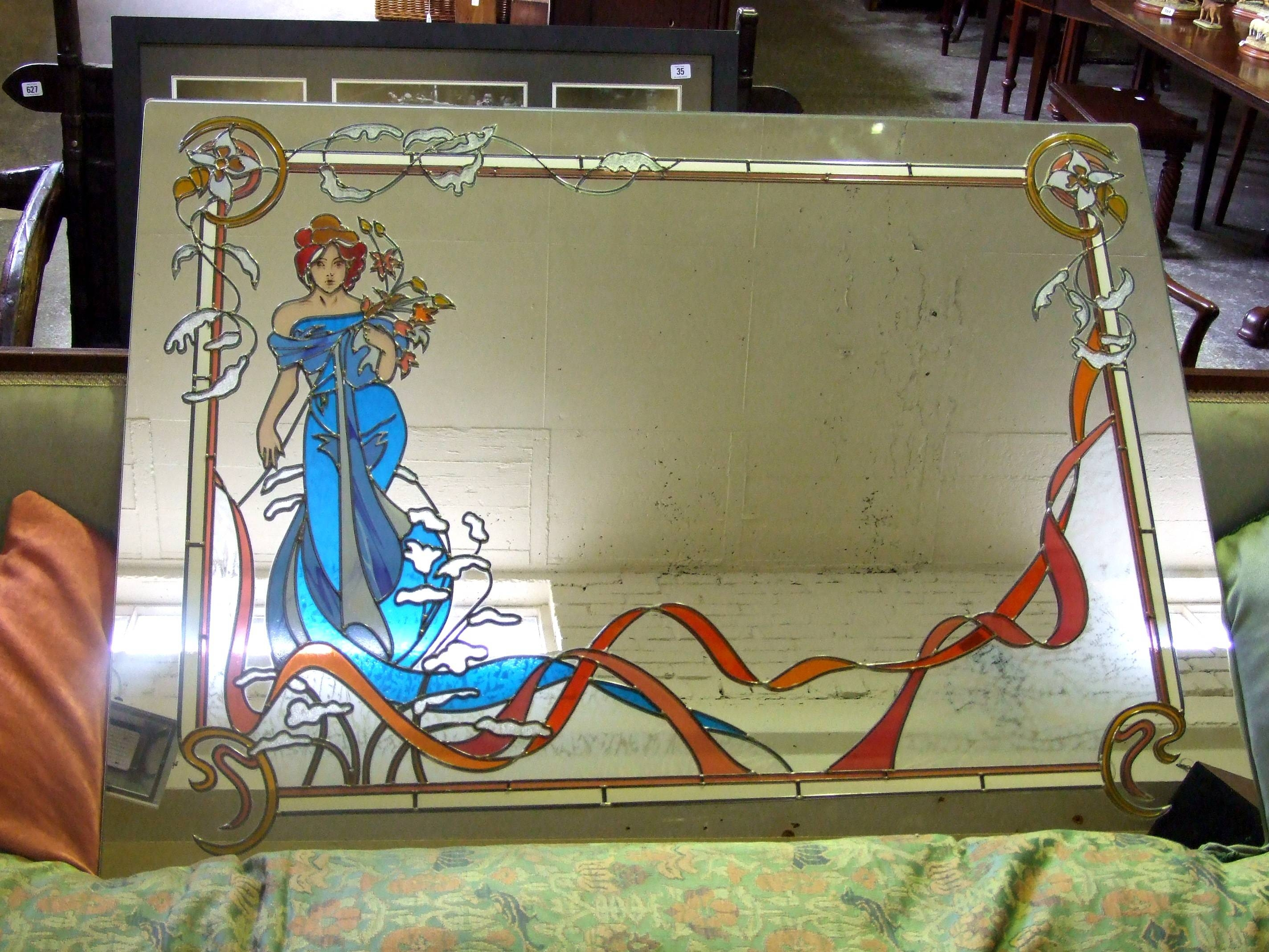 Large Stained Glass And Leaded Wall Mirror With Art Nouveau Mucha with Art Nouveau Wall Mirrors (Image 24 of 25)