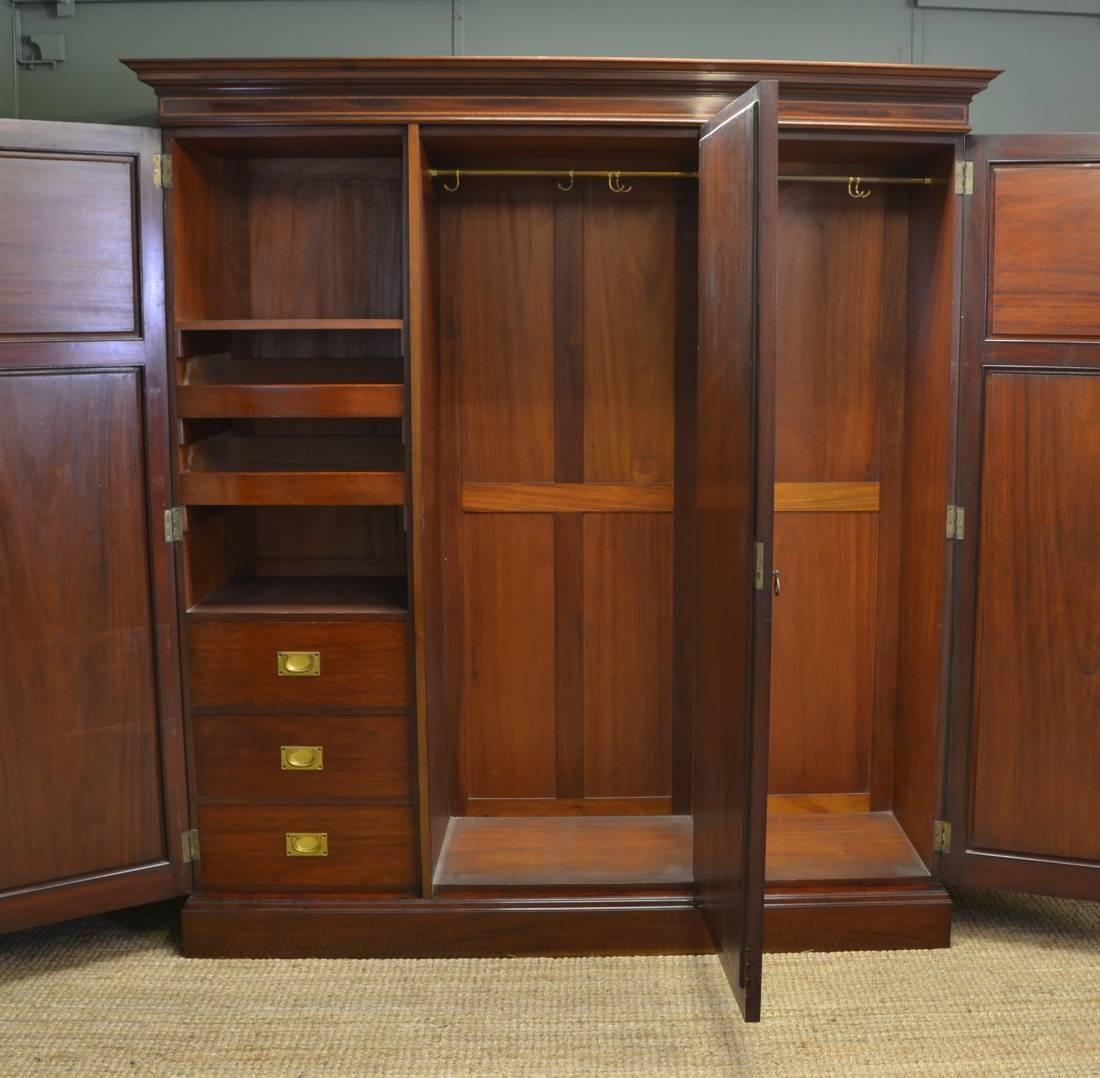 Large Superb Quality Edwardian Mahogany Antique Triple Wardrobe in Large Antique Wardrobes (Image 10 of 15)