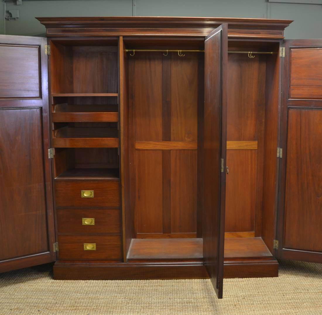 Large Superb Quality Edwardian Mahogany Antique Triple Wardrobe pertaining to Antique Triple Wardrobes (Image 3 of 15)