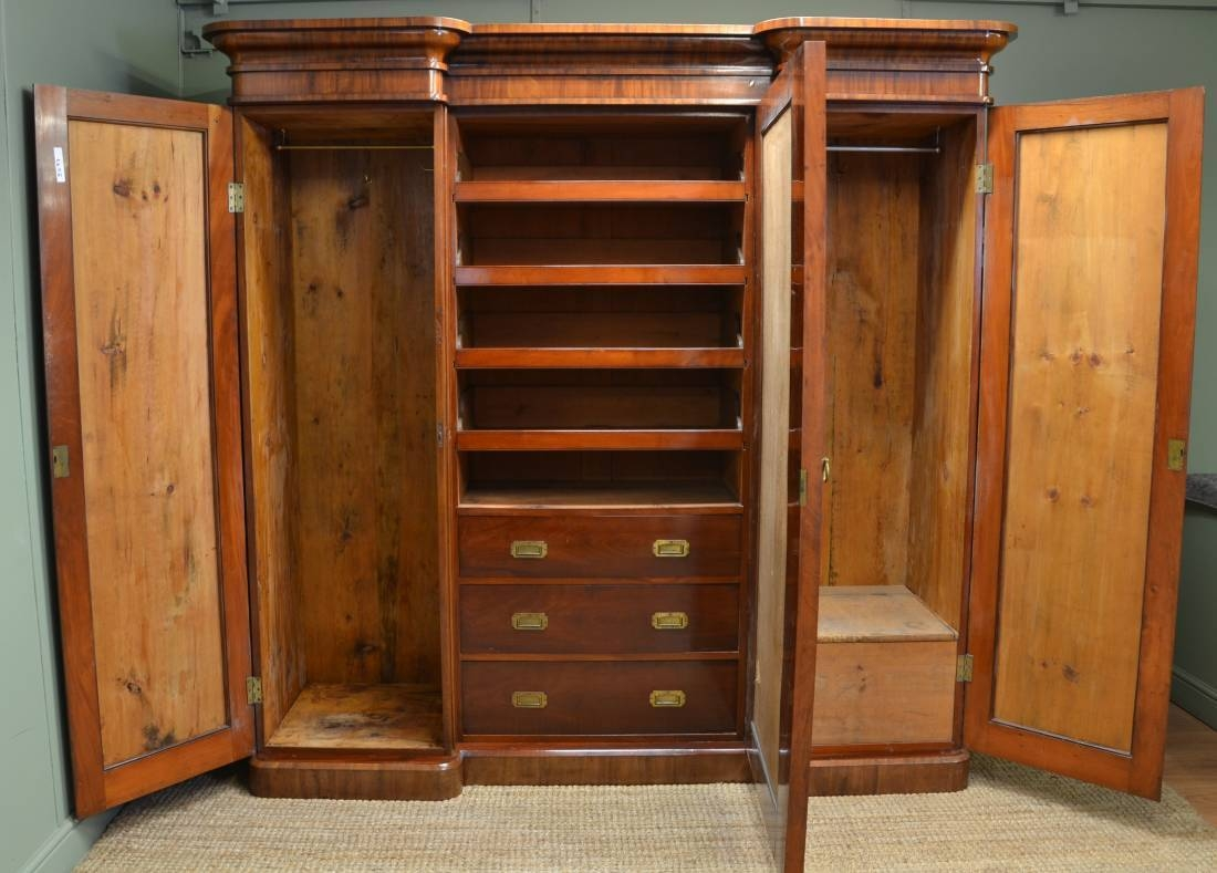 Large Victorian Mahogany Antique Triple Wardrobe - Antiques World regarding Antique Triple Wardrobes (Image 4 of 15)