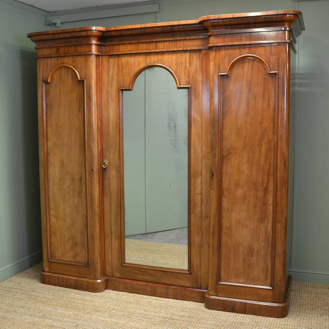 Large Victorian Mahogany Antique Triple Wardrobe - Antiques World within Antique Breakfront Wardrobe (Image 16 of 30)