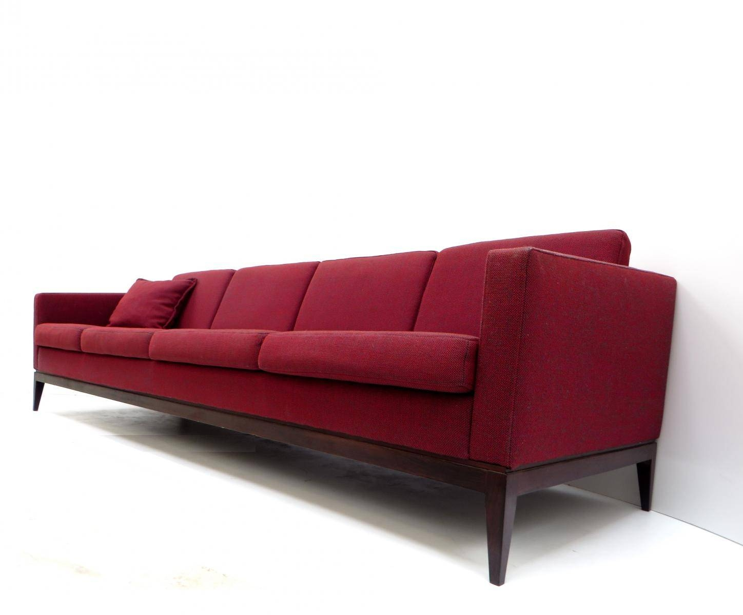 Large Vintage Burgundy Four-Seater Sofa For Sale At Pamono inside Four Seater Sofas (Image 17 of 30)