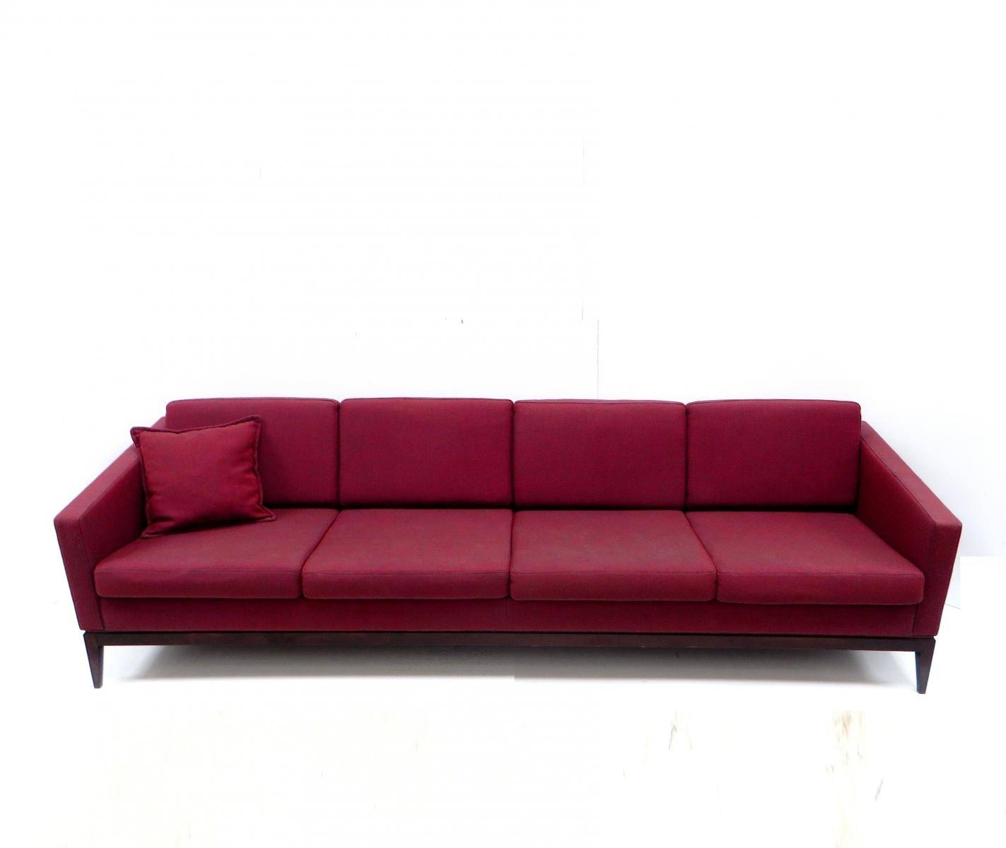 Large Vintage Burgundy Four-Seater Sofa For Sale At Pamono inside Four Seater Sofas (Image 16 of 30)