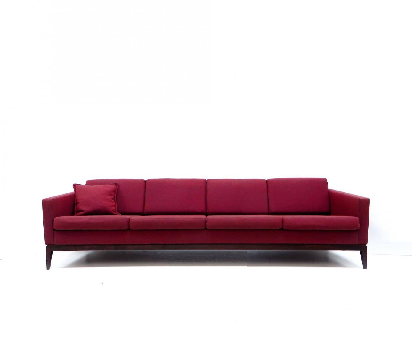 Large Vintage Burgundy Four-Seater Sofa For Sale At Pamono pertaining to Four Seater Sofas (Image 18 of 30)