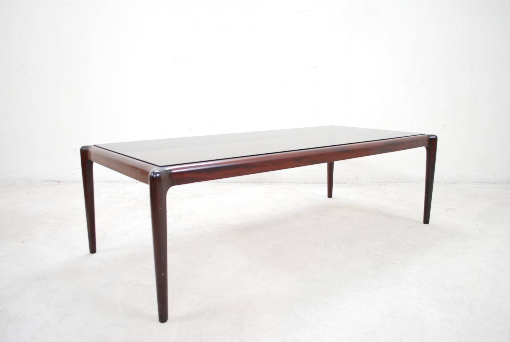 Large Vintage Mahogany & Smoked Glass Coffee Table For Sale At Pamono Regarding Retro Smoked Glass Coffee Tables (View 11 of 30)