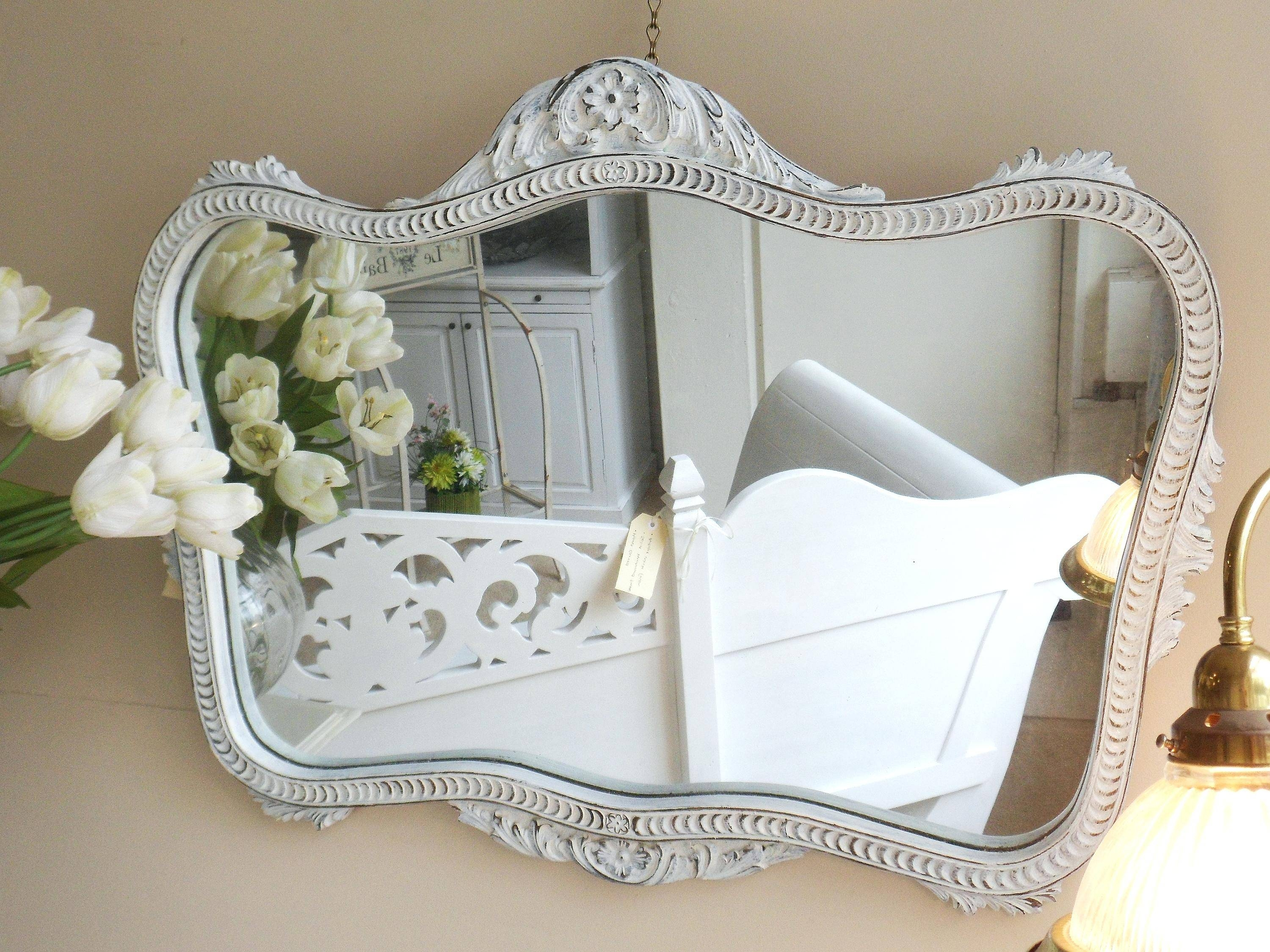 Large White Antique Design Ornate Dress Wall Mirror 49 X 16White intended for White Antique Mirrors (Image 20 of 25)