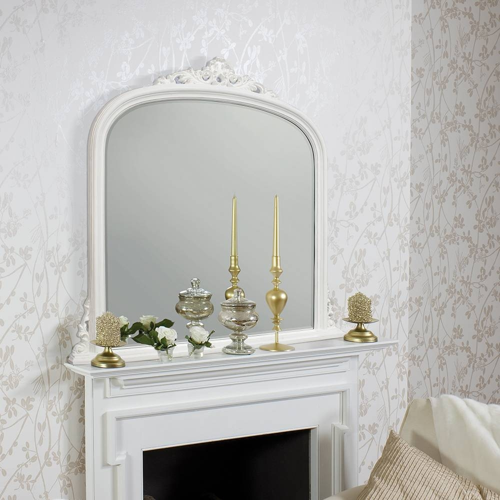 Large White Overmantle Mirror 127 X 127 Cm Large White Overmantle regarding Overmantel Mirrors (Image 13 of 25)