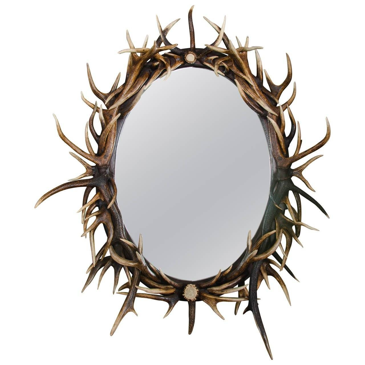 Late 20Th Century Large Oval Antler Mirror For Sale At 1Stdibs in Large Oval Mirrors (Image 14 of 25)